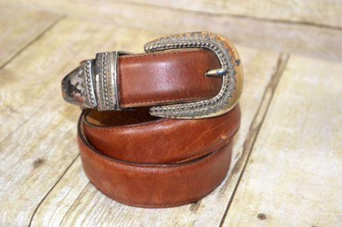 Brighton Leather Belt Brown Medium Womens Made in USA (b)