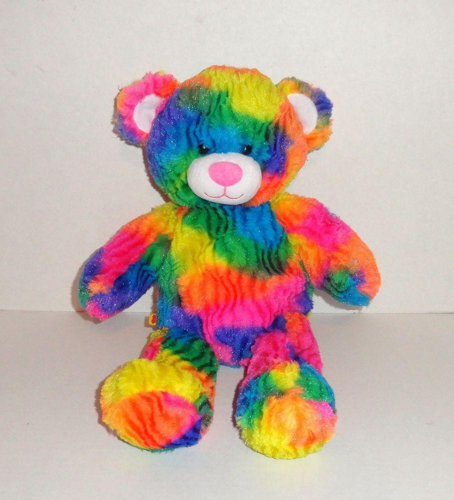 Stuffed Plush Toy Animal Build a Bear Tropicolor Teddy Rainbow Tie Dye 17in
