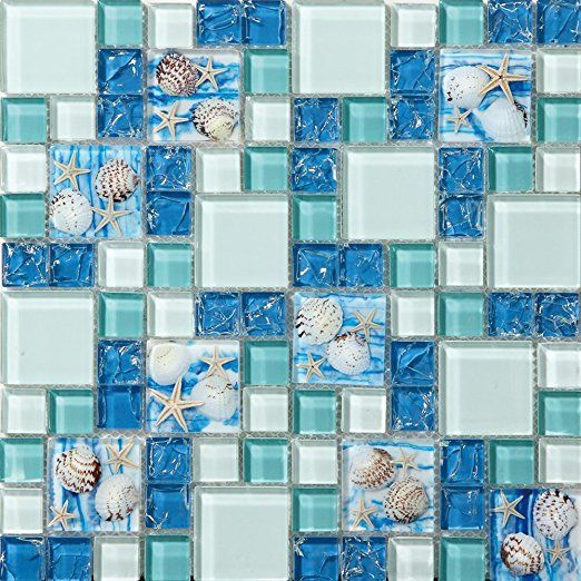 Tst Mosaic Tiles Gl Conch Beach Style Sea Blue Tile Mosaics Wall Art