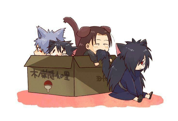 Izuna, Hashirama, Tobirama, Madara, cute, cat, neko; Naruto