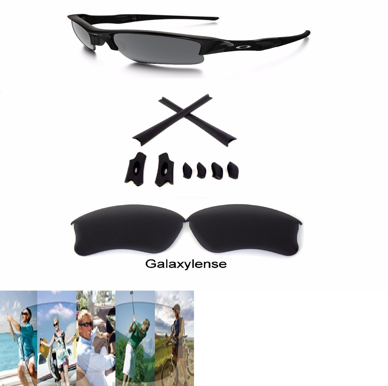 ca2b49c634 Replacement Lenses and Parts 179195  Galaxy Replacement Lenses + Rubber Kits  For Oakley Flak Jacket Xlj Black -  BUY IT NOW ONLY   13.96 on  eBay ...