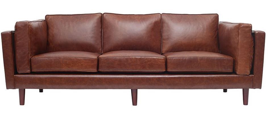 canap en cuir vintage 3 places curtis marron pas cher prix promo canap miliboo 1 34999 - Canape Cuir Vintage Pas Cher
