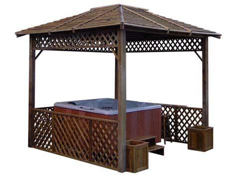 Hot Tub Gazebo | Gazebos de madera al aire libre de la tina caliente ...