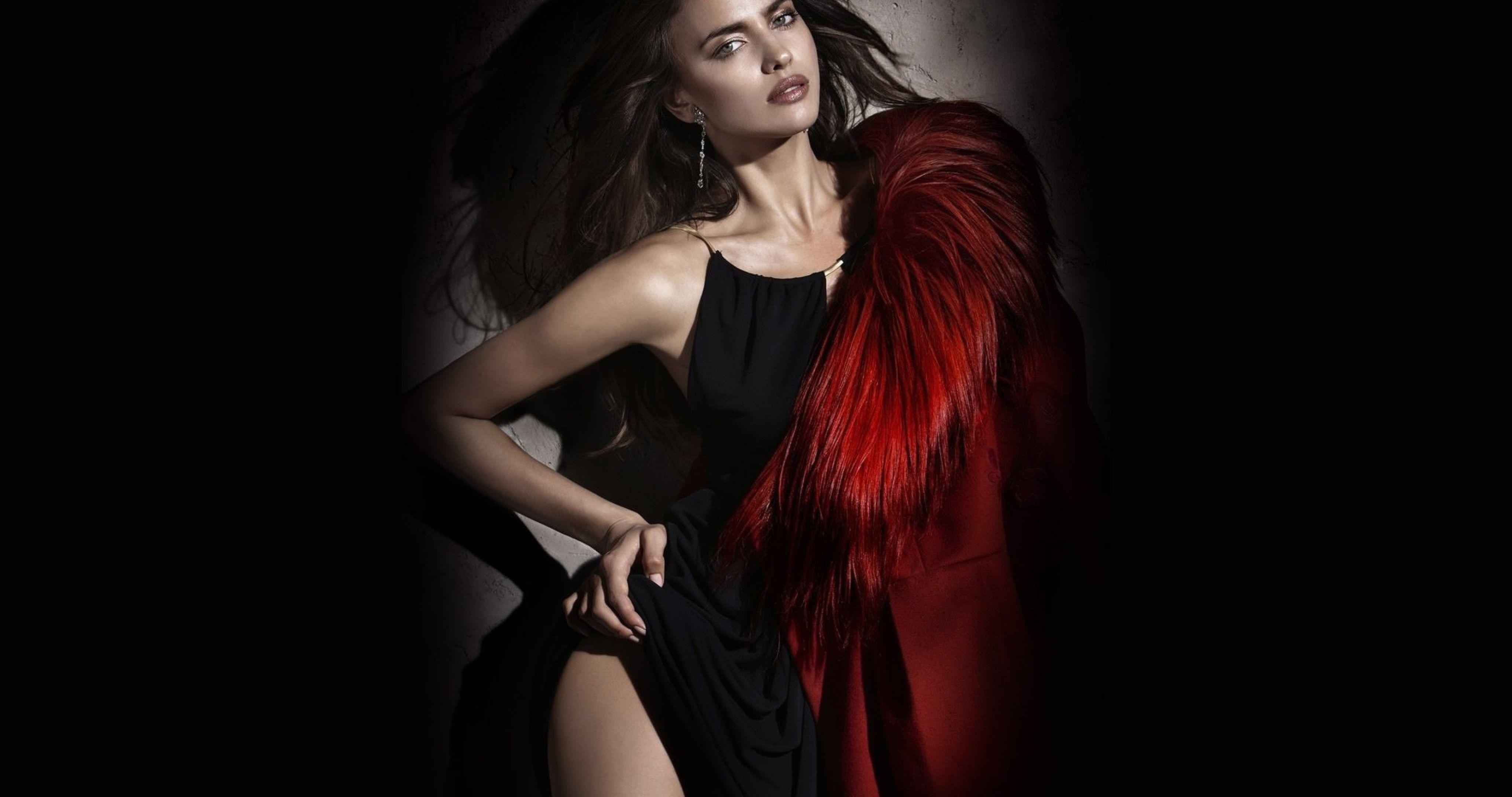 irina sheik wallpaper 4k ultra hd wallpaper Fur fashion