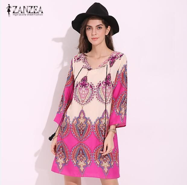 2017 ZANZEA Womens Boho Floral Print Lace-up V Neck 3/4 Sleeve ...