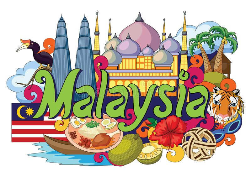Doodle Showing Architecture And Culture Of Malaysia Vector