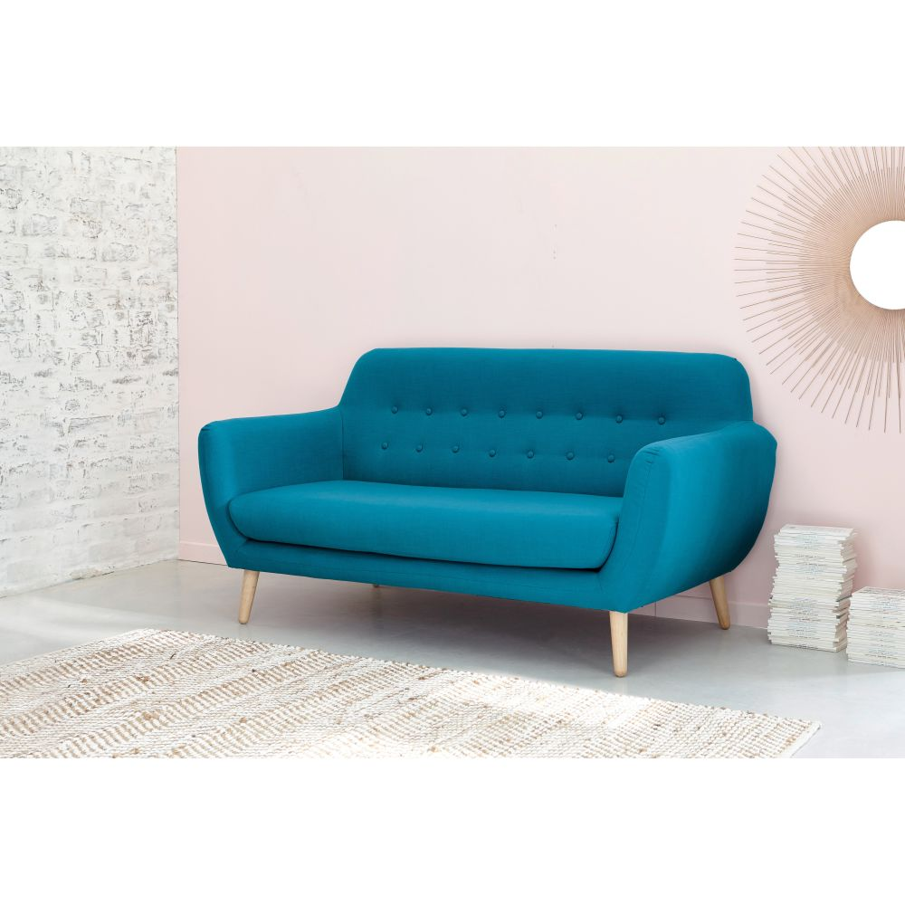 e8df1b0f3cee Scandinavian Petrol Blue Fabric 2/3 Seater Sofa | Maisons du Monde