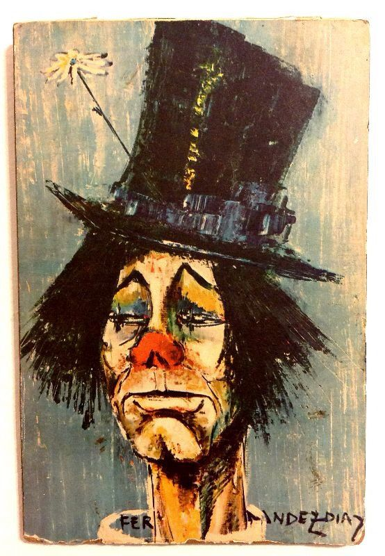 Print of famous clown painting by Spanish artist Rosy