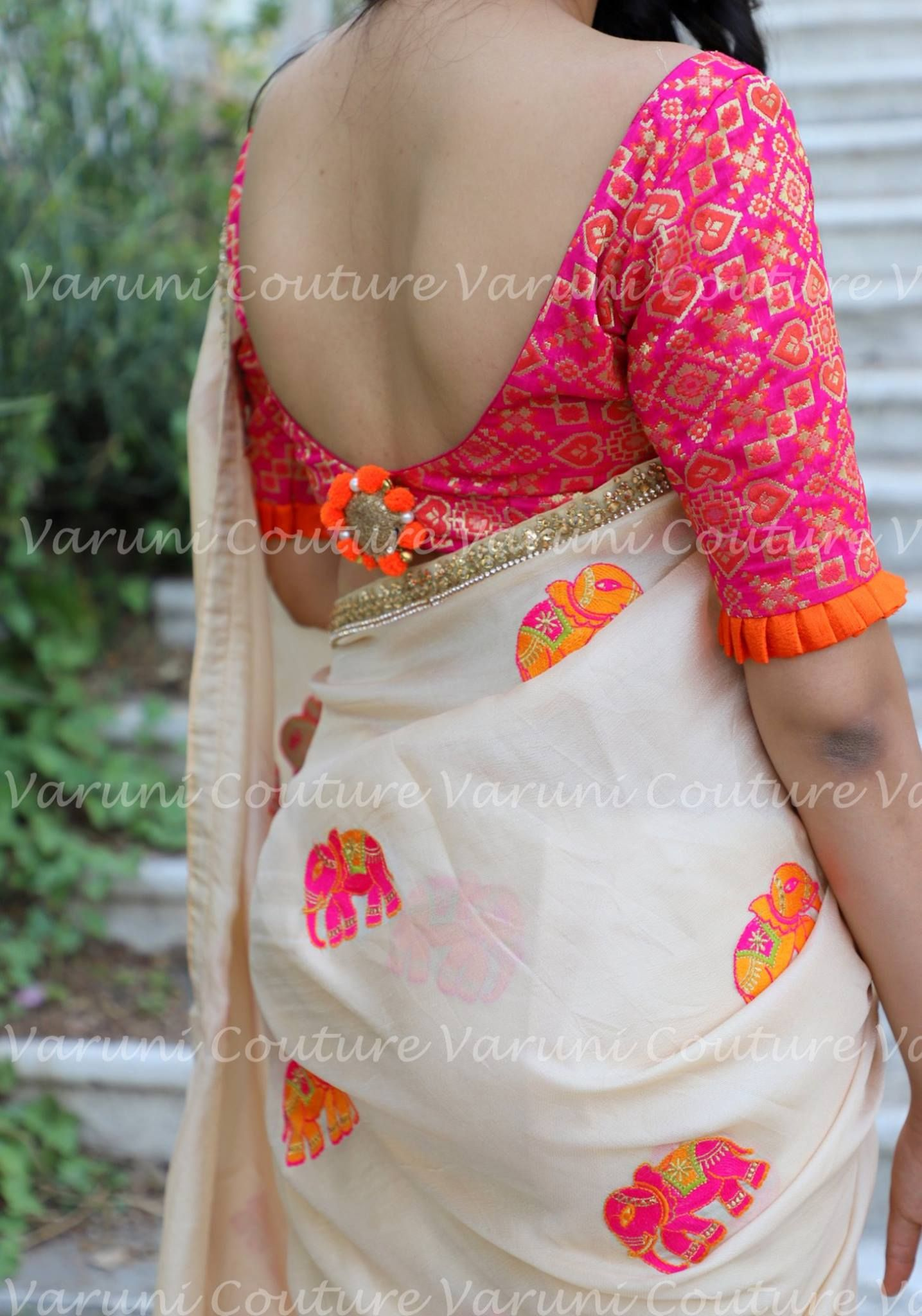 6a45b81d88c5e Saree Code VC HAATHI Beige blended jute silk embellished with elephant  motifs which is enhanced with a brocade blouse which adds to the look.  comes with an ...