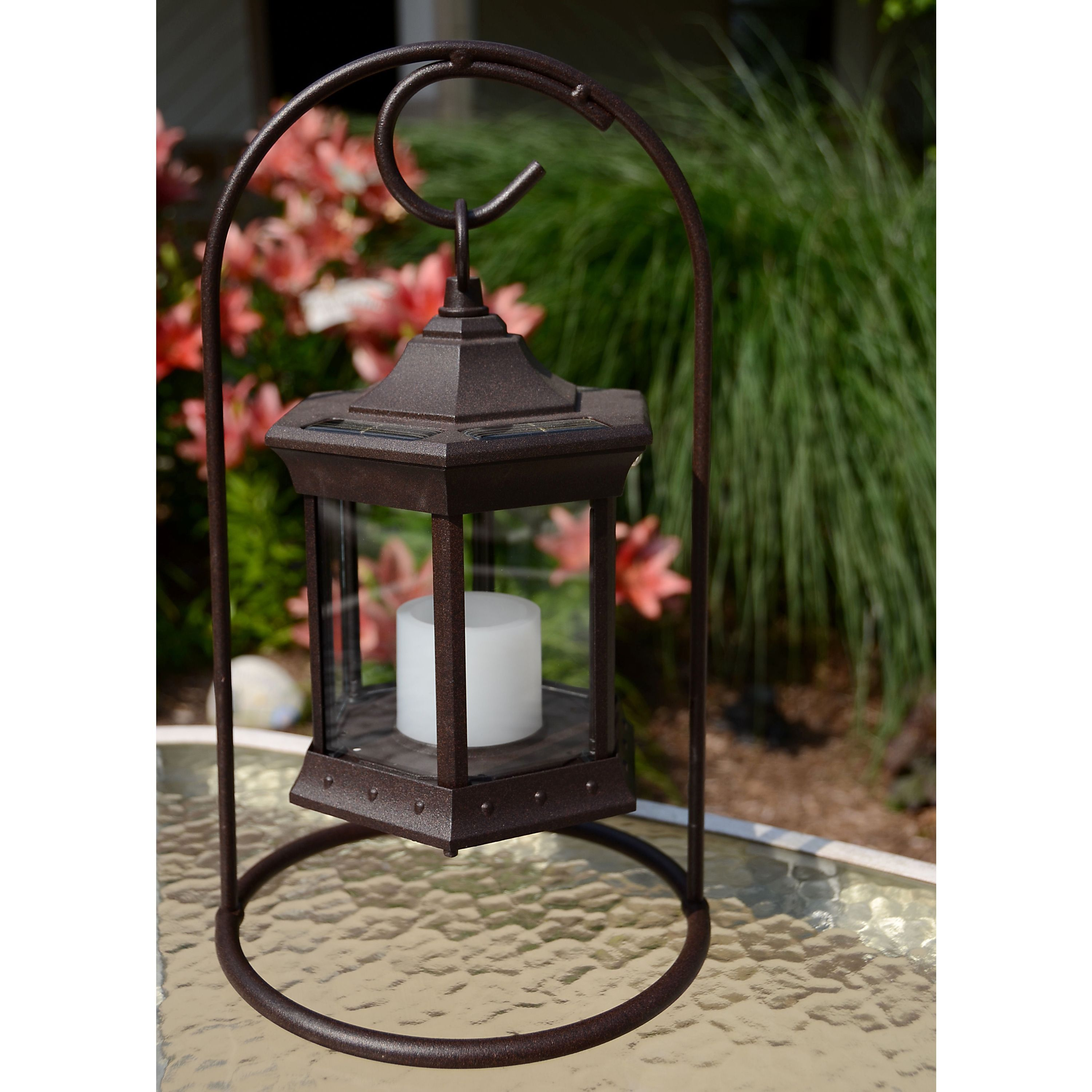 Solar Lantern Arch Stand Frosted Gl Brown Aluminum