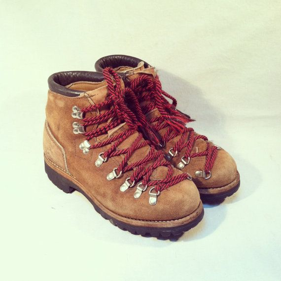 Vintage 70s DEXTER HIKING BOOTS / Mountaineering Red Laces / Tan ...