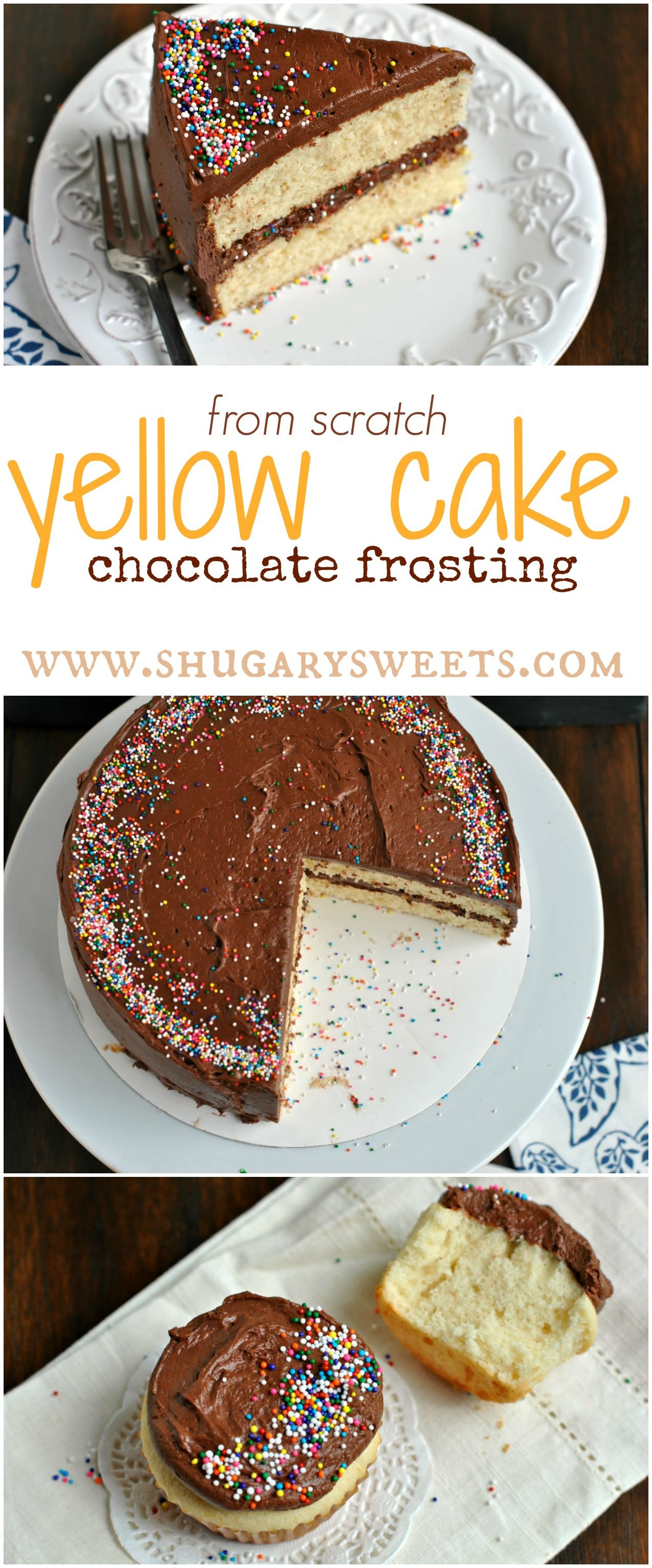 From scratch YELLOW CAKE with Double Fudge frosting. Also makes ...