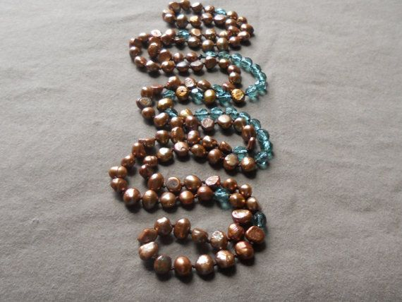 Bronze freshwater pearl and teal crystal knotted by SunshinesPush, $72.00