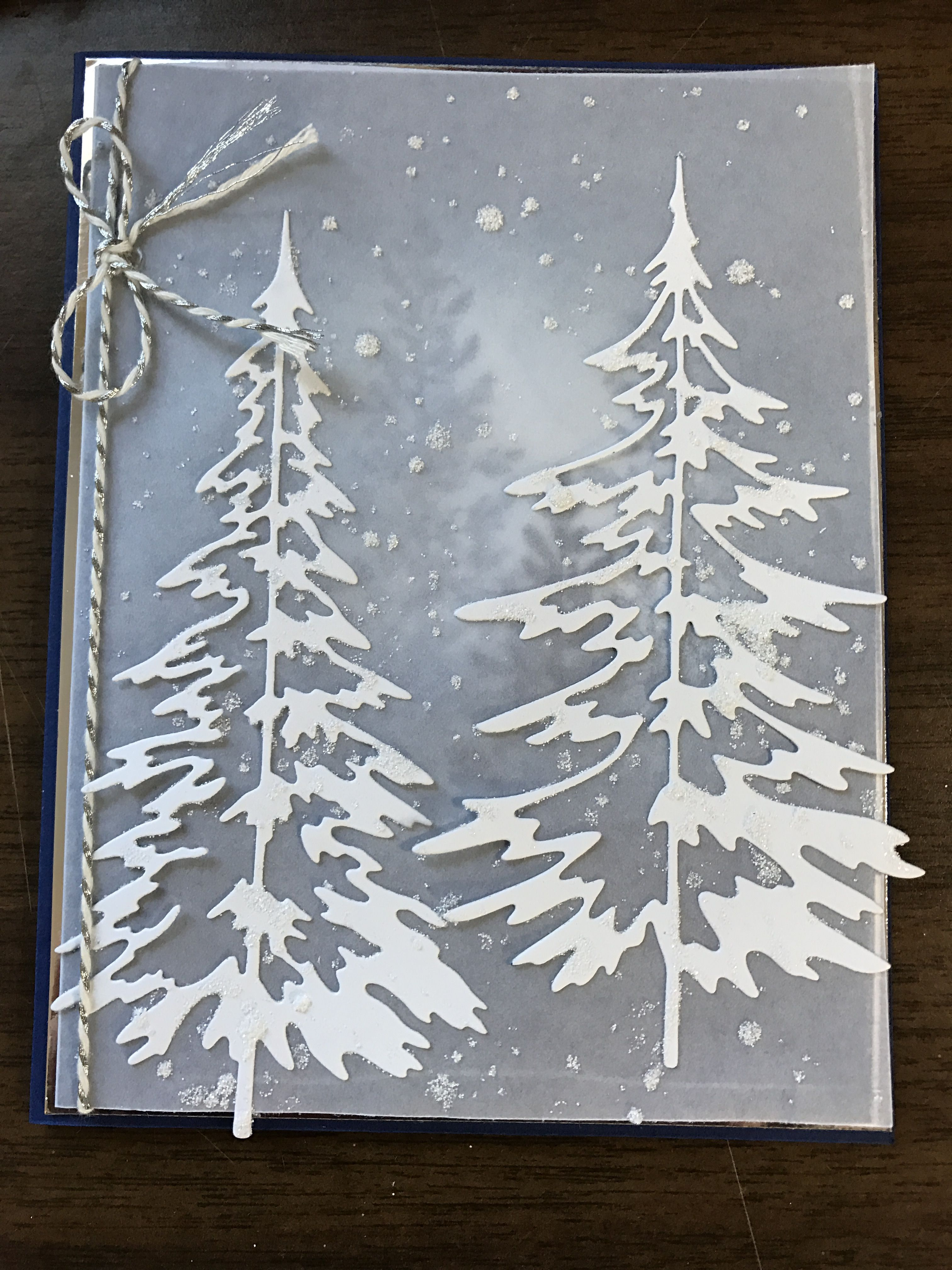 Stampin Up Lovely As A Tree Tim Holtz Woodlands Die Christmas Card Christmas Cards 2018 Christmas Tree Cards Christmas Cards 2017