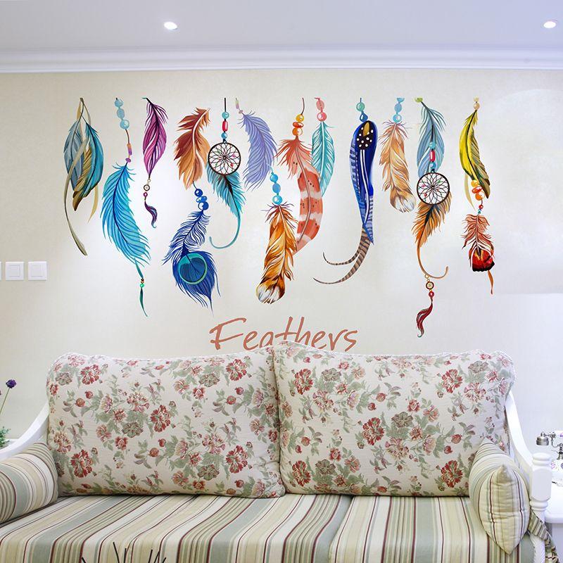 Hot Diy Wall Sticker Mural Art Feather Sticker Home Decor