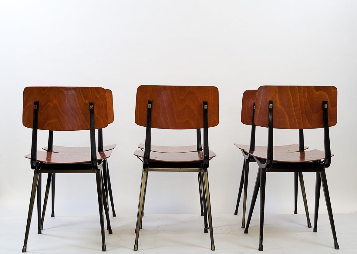 Set Of 6 Vintage Compass Chairs By Friso Kramer Furniture