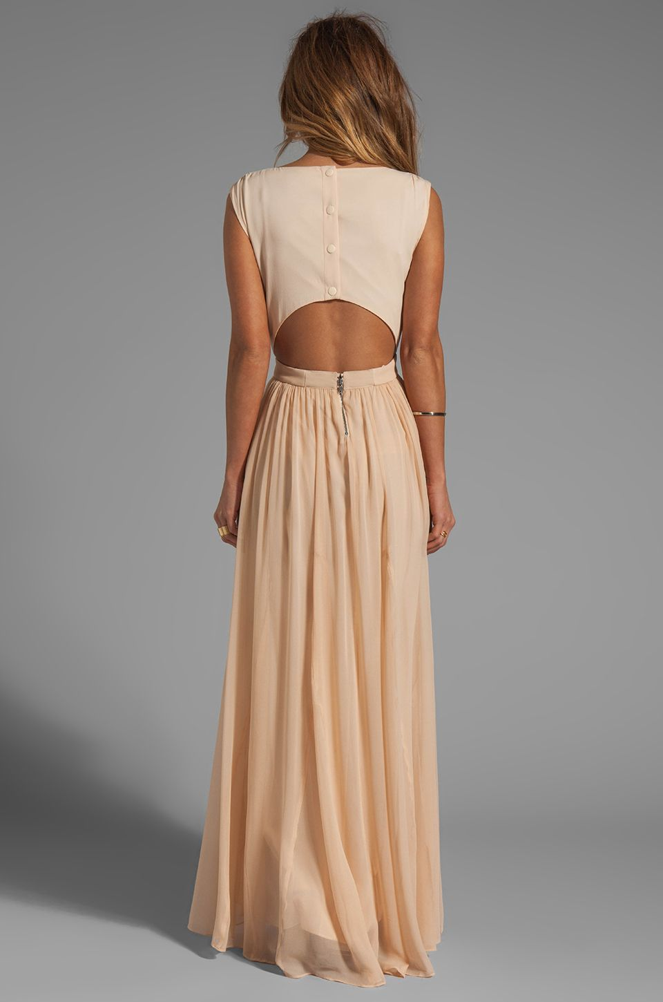2d469110cb Alice + Olivia Triss Sleeveless Maxi Dress with Leather Trim in Almond Cream