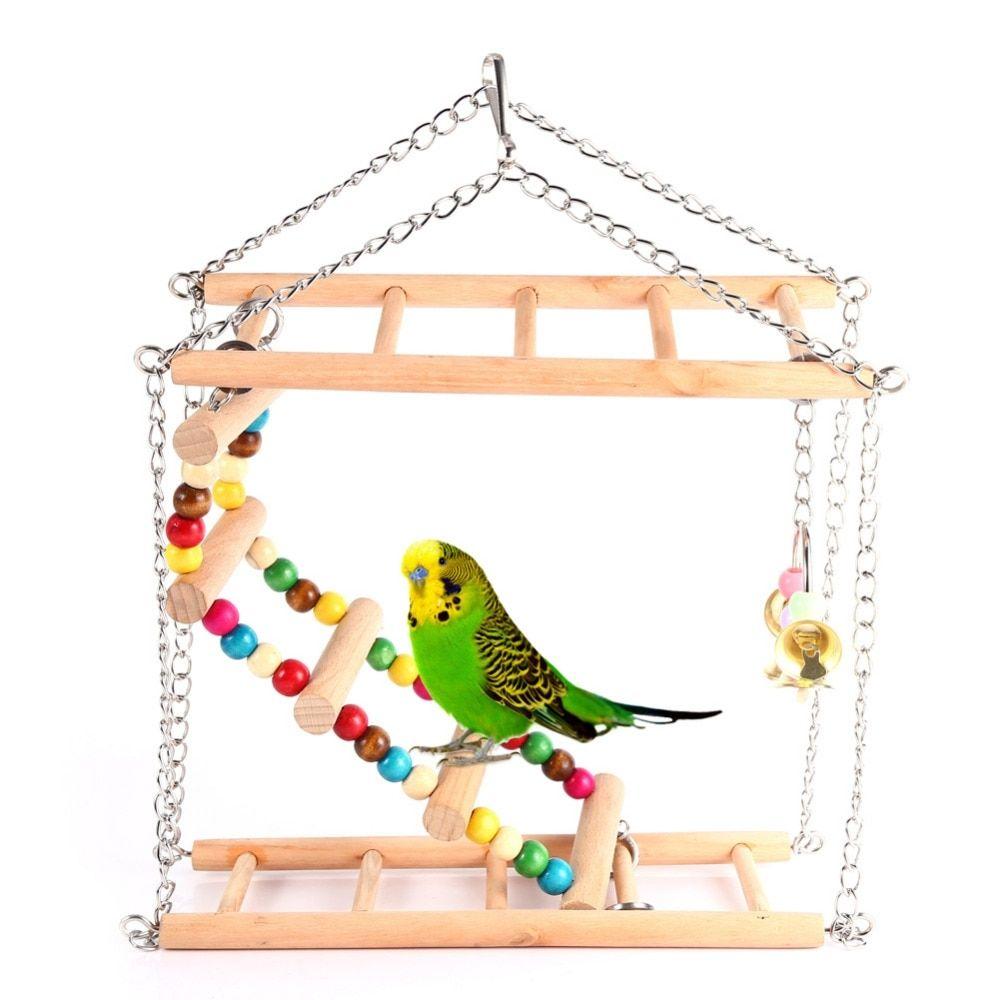 Wooden Bird Ladder Parrots Toys Bird Swing Exercise