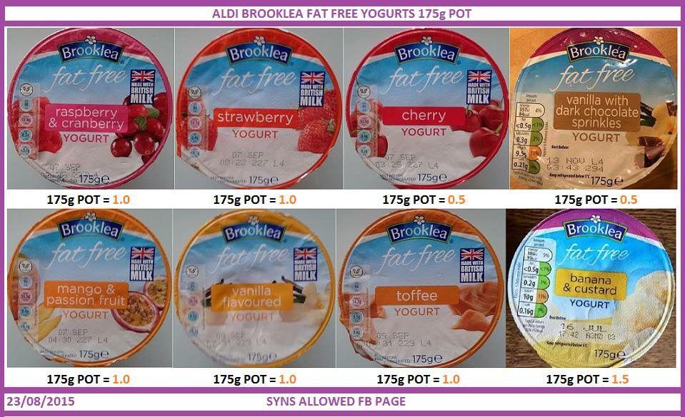 Aldi Yogurt Syns Slimming World Pinterest Yogurt