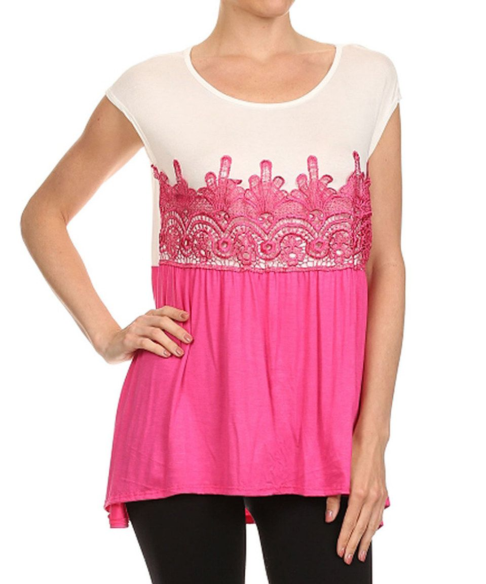 Another great find on #zulily! Vision Fuchsia & White Embroidered Scoop Neck Tunic by Vision #zulilyfinds
