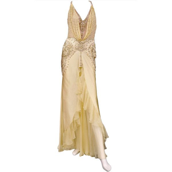 Pre-owned Unique VERSACE crystal-embellished silk gown ($8,950 ...