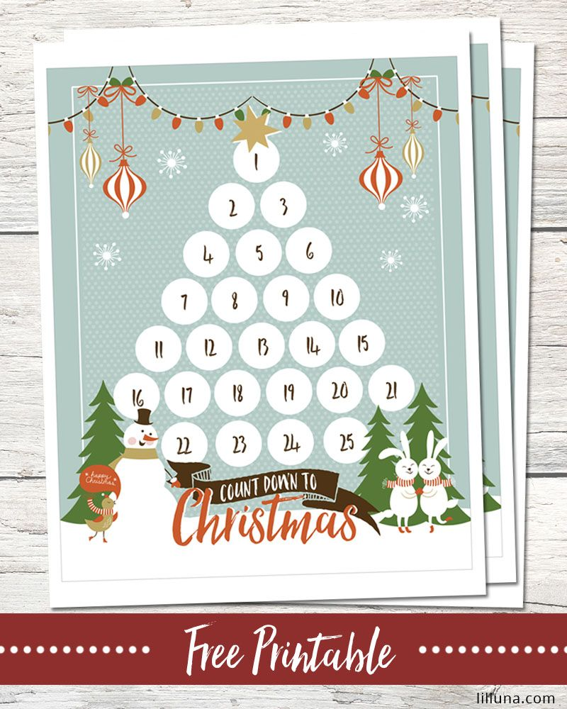 FREE Christmas Countdown Printable - download and use this cute ...