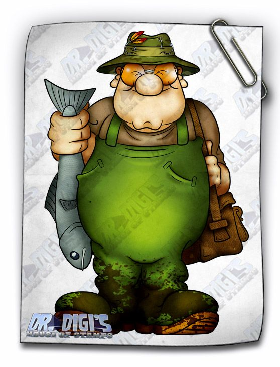 """""""Anglin' Andy"""" digi stamp.  As any angler will tel you, the best way to catch a fish you could buy from the store for a couple of pounds, is to spend a few hundred on gear and spend all day in the rain getting bitten by flies... but Andy seems happy enough with his catch, so it cant be all bad i guess"""