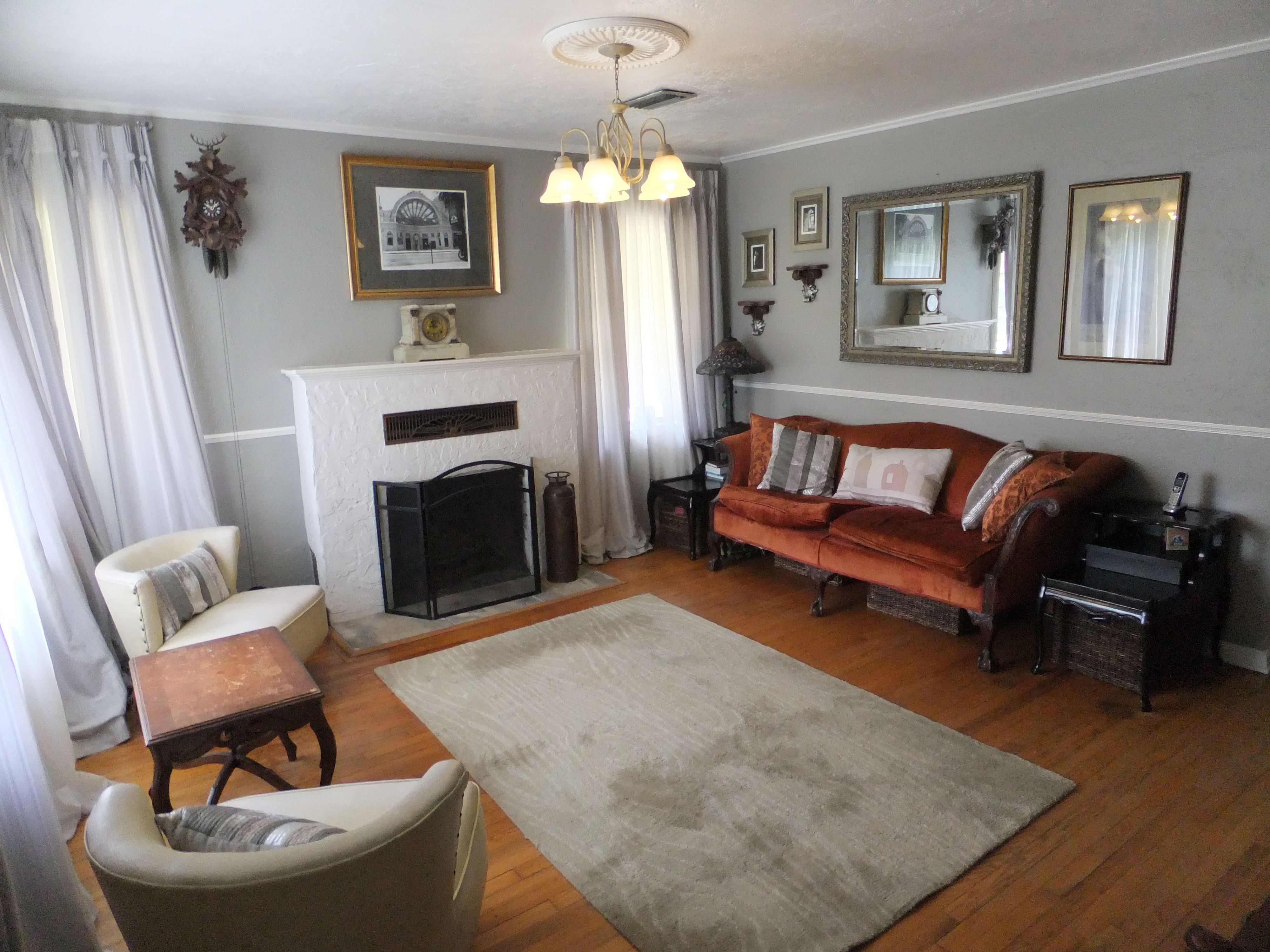 Small Cottage Living Room Dorian Gray Paint Sherwin