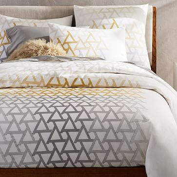 Brighten Your Bedroom With Our Embroidered Fading Triangle Duvet Cover Its Geometric Motif Stretches Across A Richly Textured Base Of Marigold