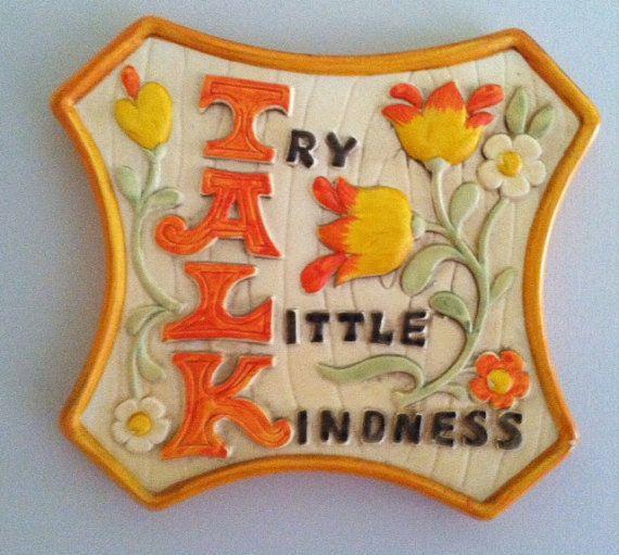 VIntage 60's 70's Chalkware Plaque TALK by PrettyLittlePickers
