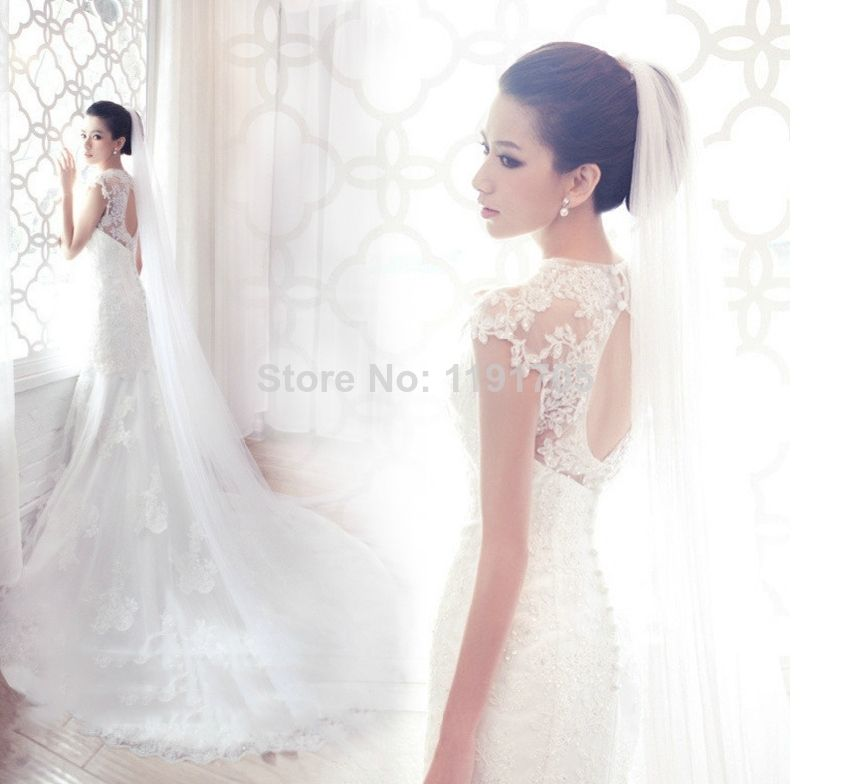 Free shipping High Backless White Lace Wedding Dress 2014 Mermaid Floor Length Court Train Bridal Gowns 2014 New Fashion $194.00