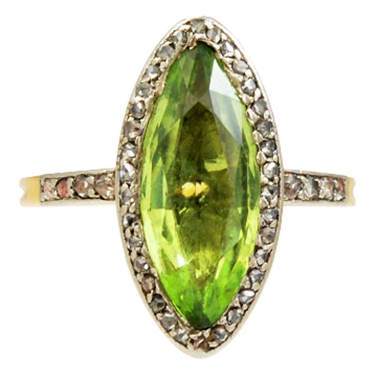 French 19th century Peridot and Diamond Ring | From a unique collection of vintage cluster rings