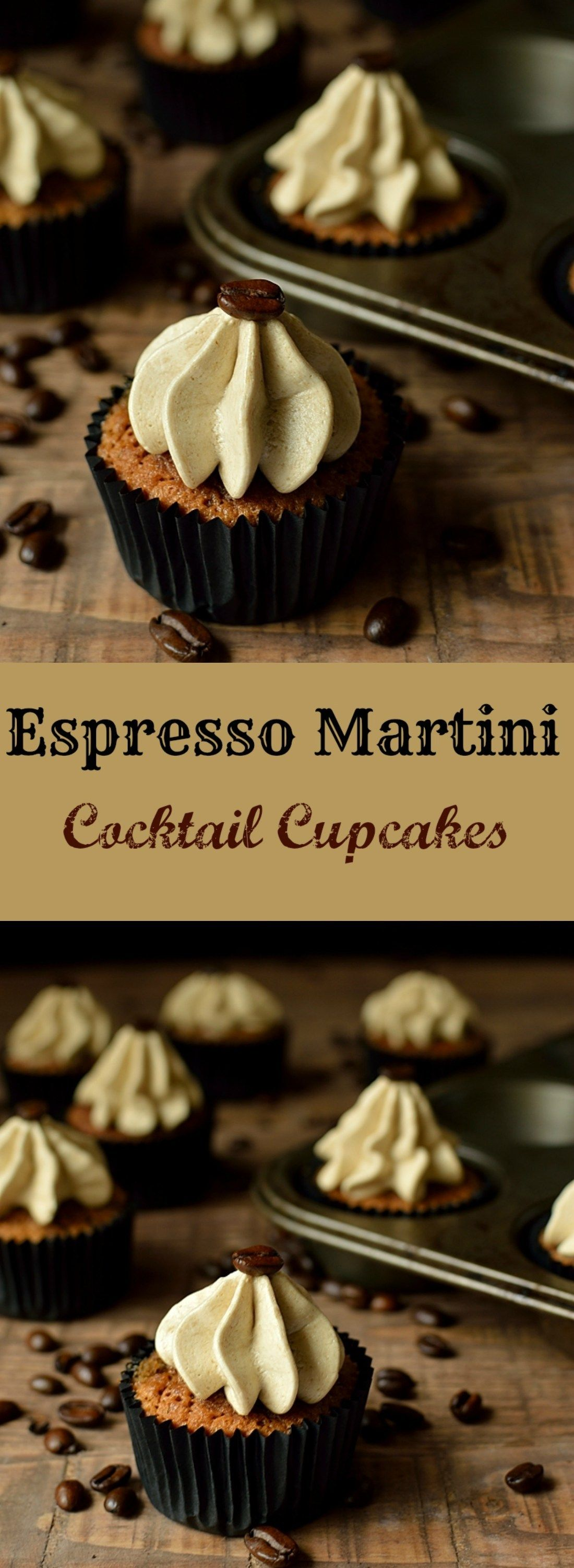 Espresso martini cocktail cupcakes, a grown up treat flavoured with Kahlua, vodka and coffee #espressocoffee
