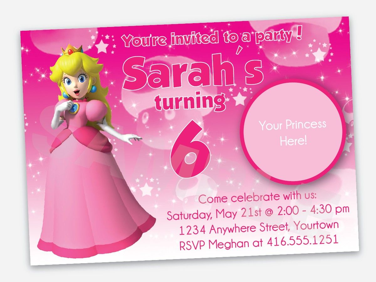 Princess Peach Birthday Party Invitation Printable File 1499 – Mario Party Invites