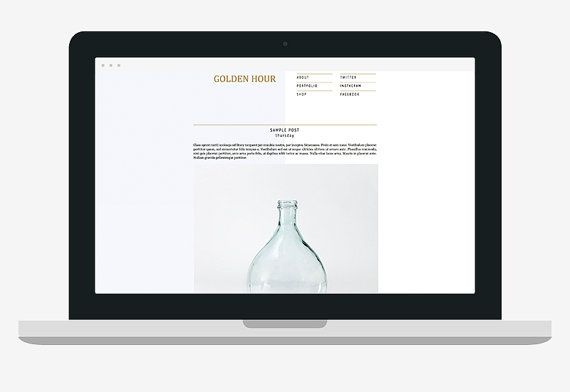 Modern Clean Premade Blogger Blog Theme - Golden Hour