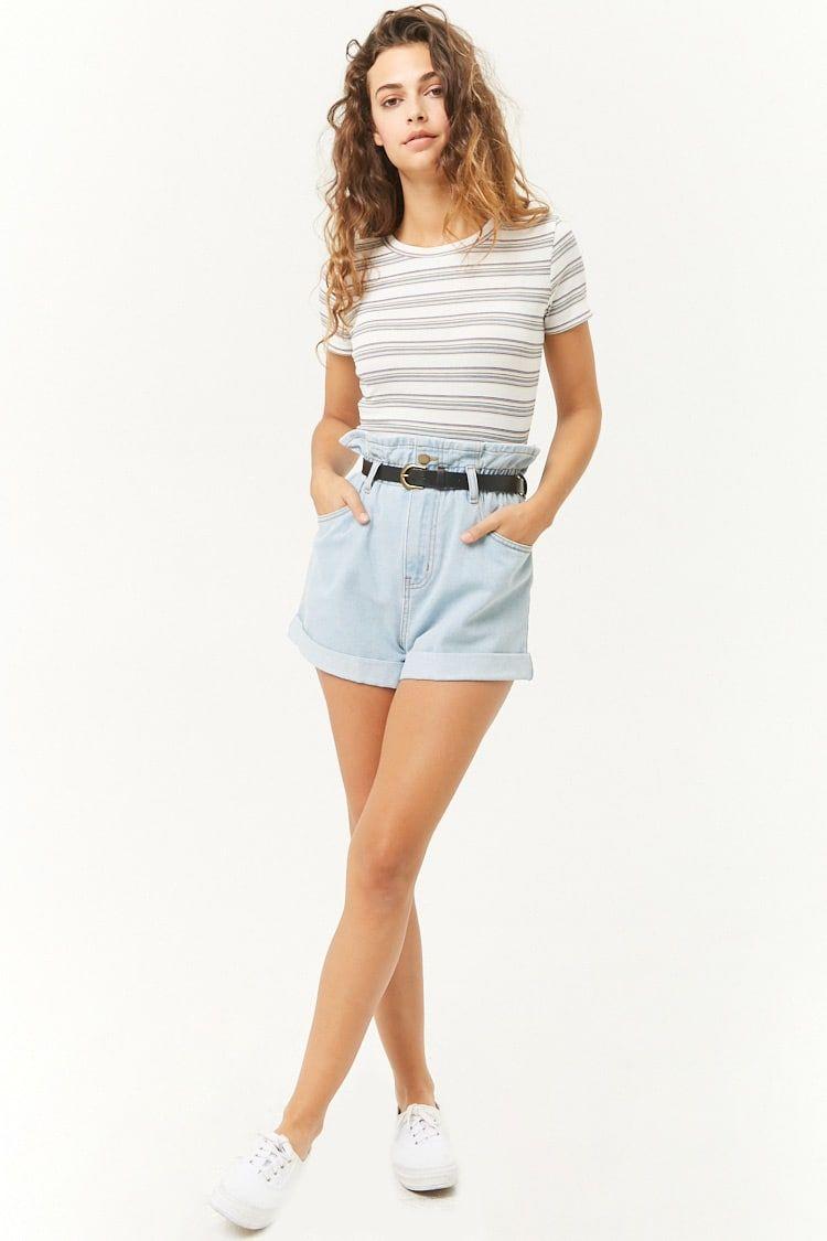Short De Mezclilla Cintura Fruncida Mujer Pantalones Shorts Shorts 2000299995 Forever 21 Eu Espanol