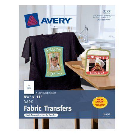 Avery Dark T-Shirt Transfers, Matte, 8-1/2 inch x 11 inch, 5 Labels