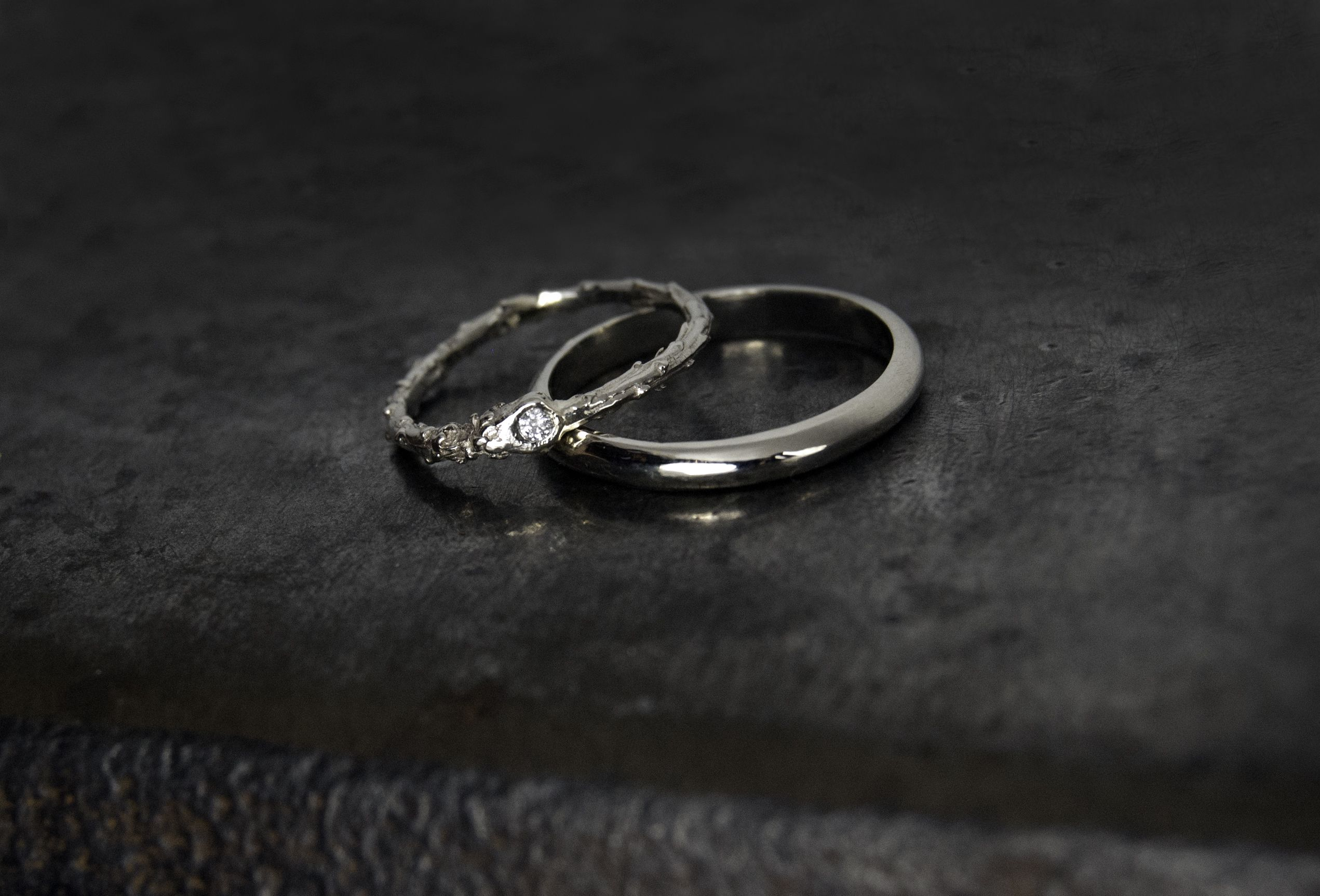 Hers Recycled White Gold Cast Twig With Conflict Free Diamond His Wedding Bandswhite