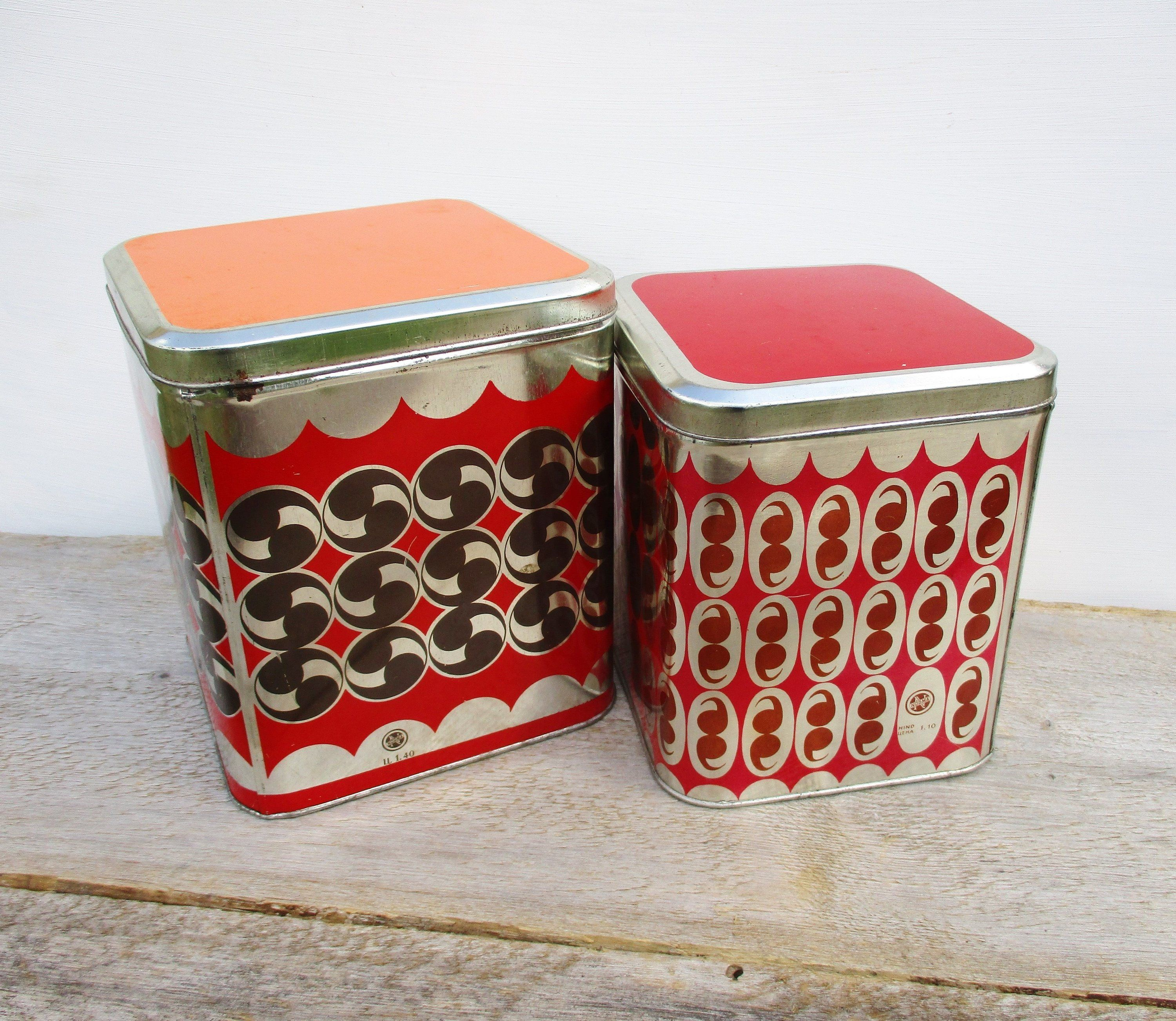 Tin Canister Set Two Food Storage Containers Vintage Kitchen Organizer Red Lidded Metal Box Soviet Unio Food Storage Containers Canister Sets Tin Canisters