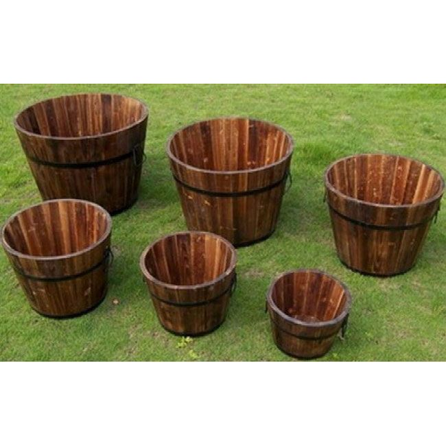 Marvelous Round Cedar Wood Whiskey Barrel Planters (Set Of 6)