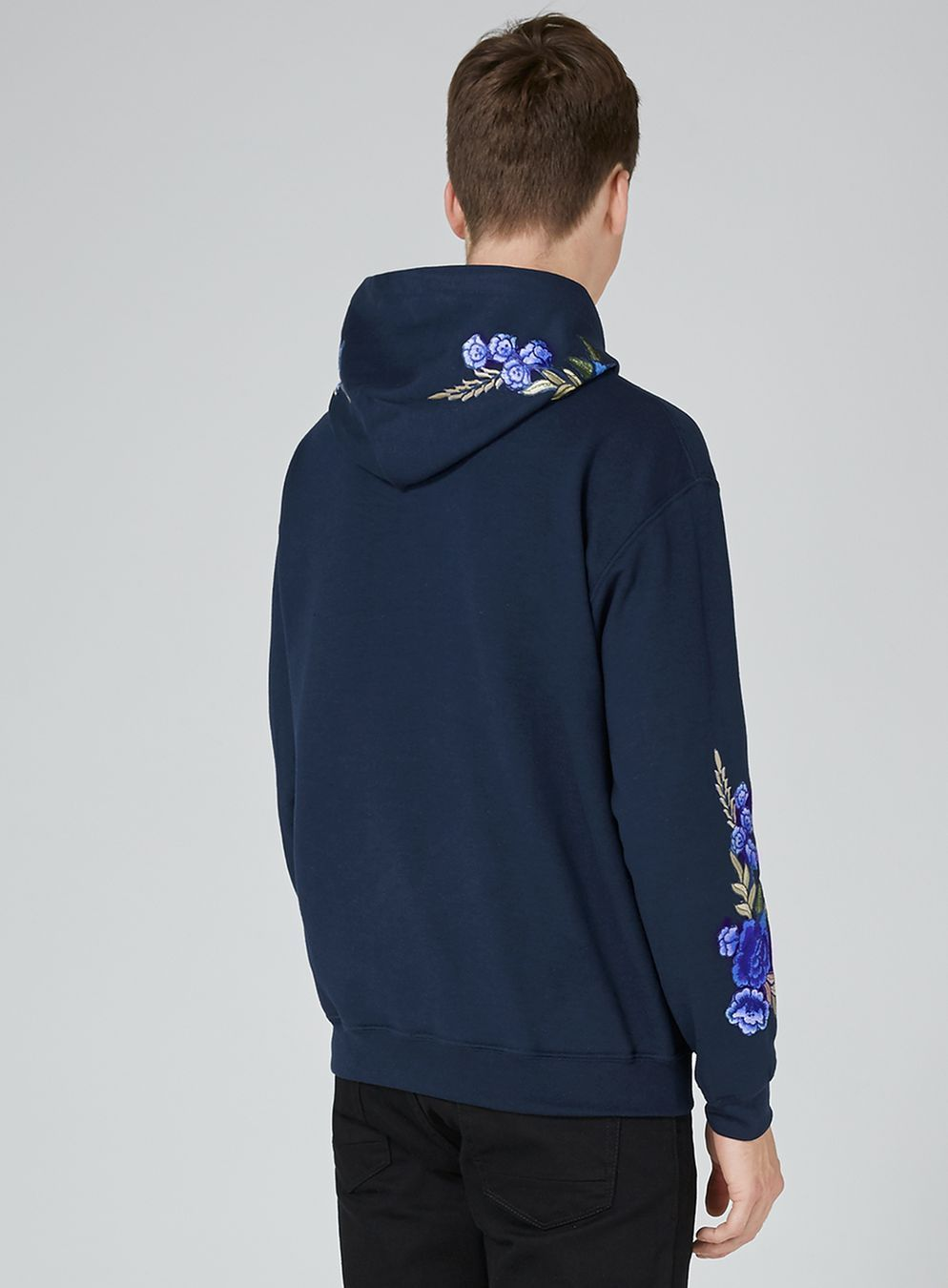 Navy Rose Embroidered Hoodie  905bd98670d27
