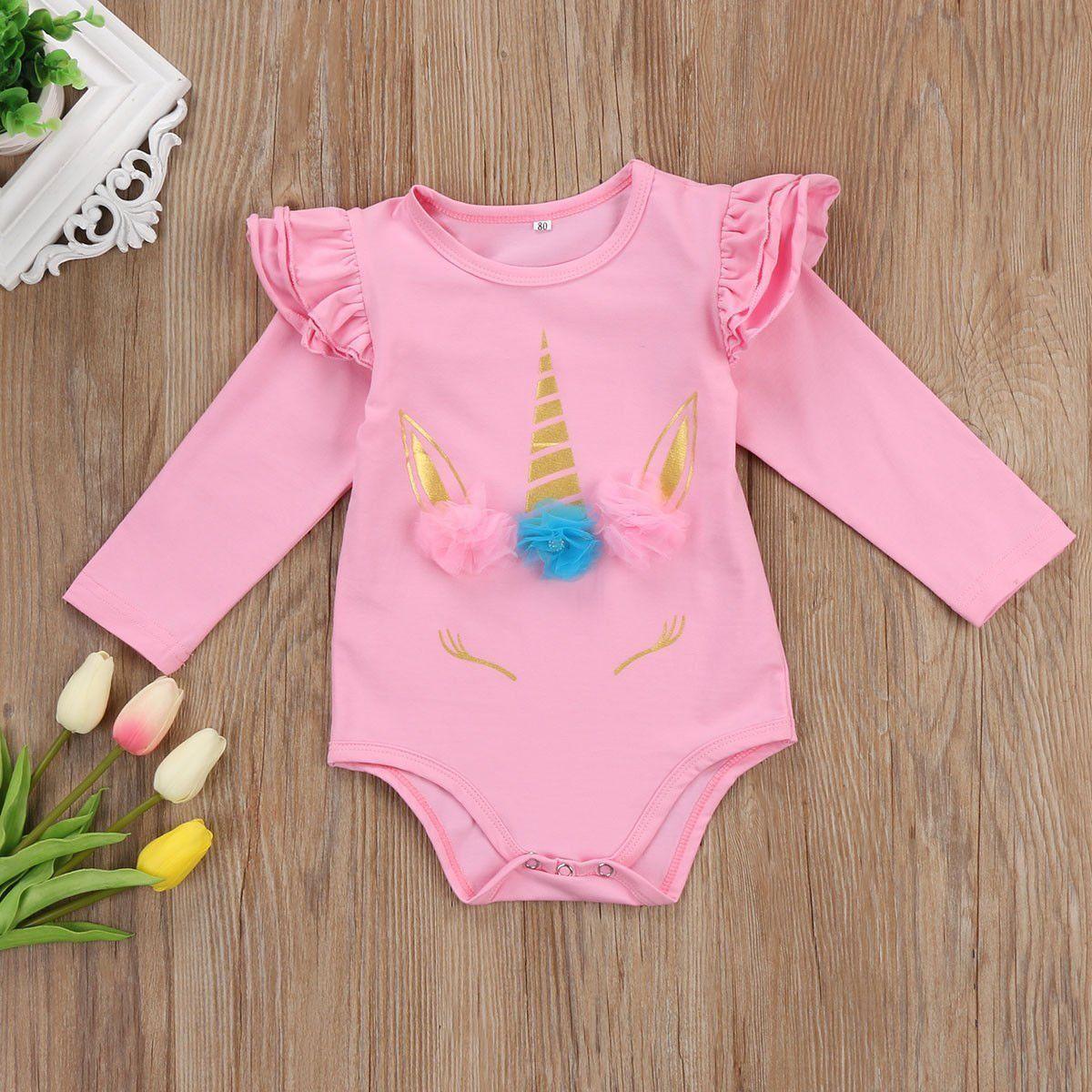 f2f01cecc75e Newborn Baby Girl Unicorn Romper Cotton Bodysuit Summer Clothes Outfits  Pink Lot