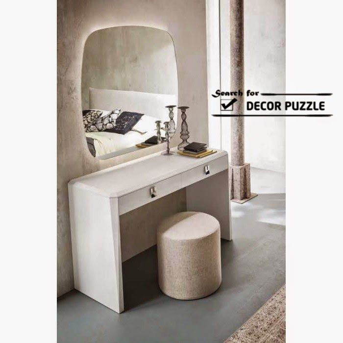 Merveilleux Modern Small White Dressing Table Designs, Mirror With Lights