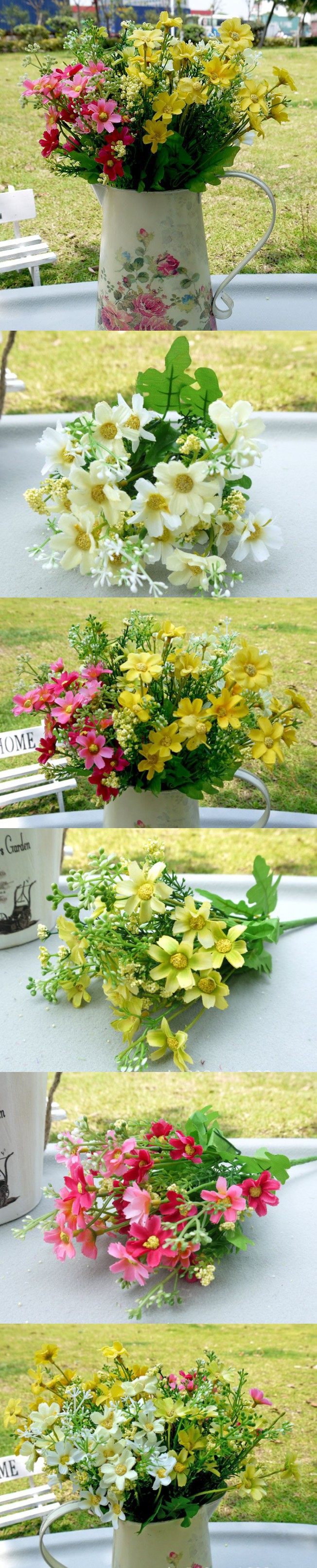 1pcs Free Shipping Silk Daisy Bouquet Artificial Daisy Flower Home