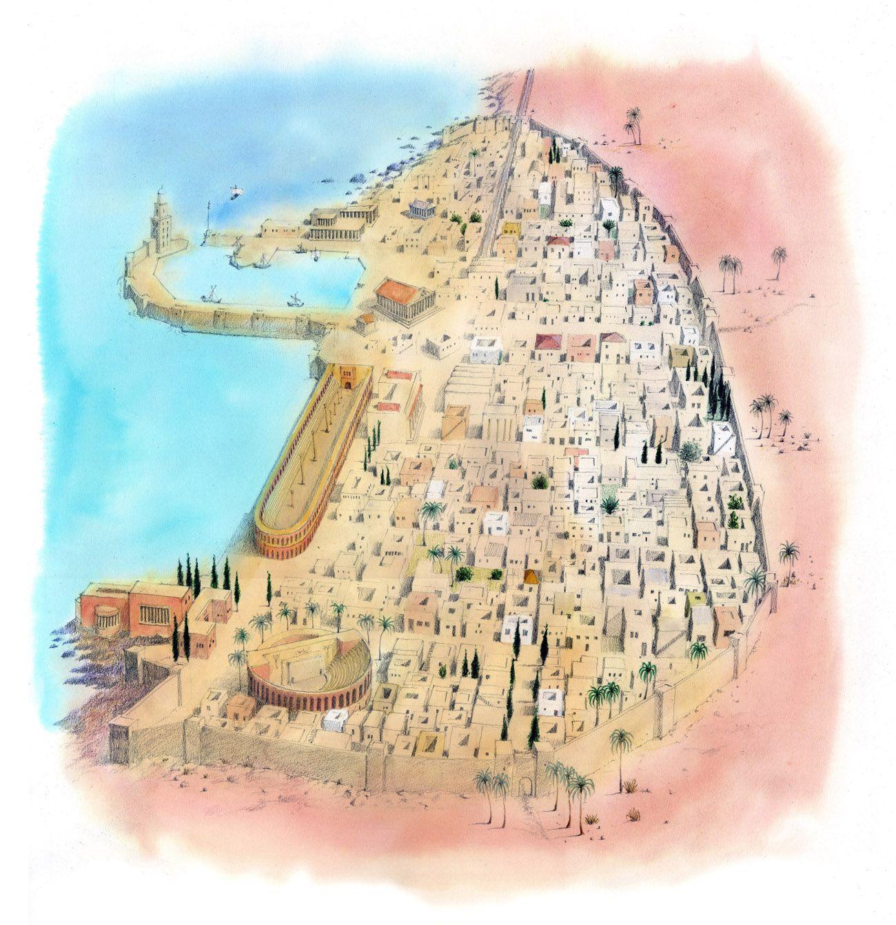 Caesarea map - Israel . Flame TV « Hand Made Maps Ltd