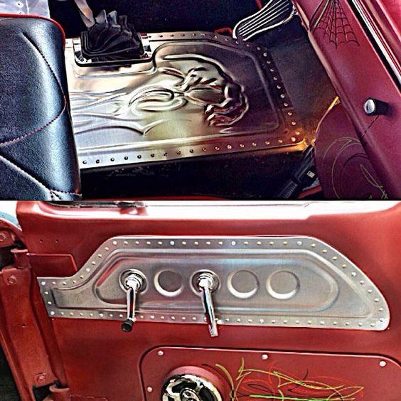 Custom Interior Sheet Metal Aluminum Art Bead Roll Door Panels Console Bead Rolled Work Floor Mats Inserts Sheetme Custom Car Interior Custom Cars Sheet Metal