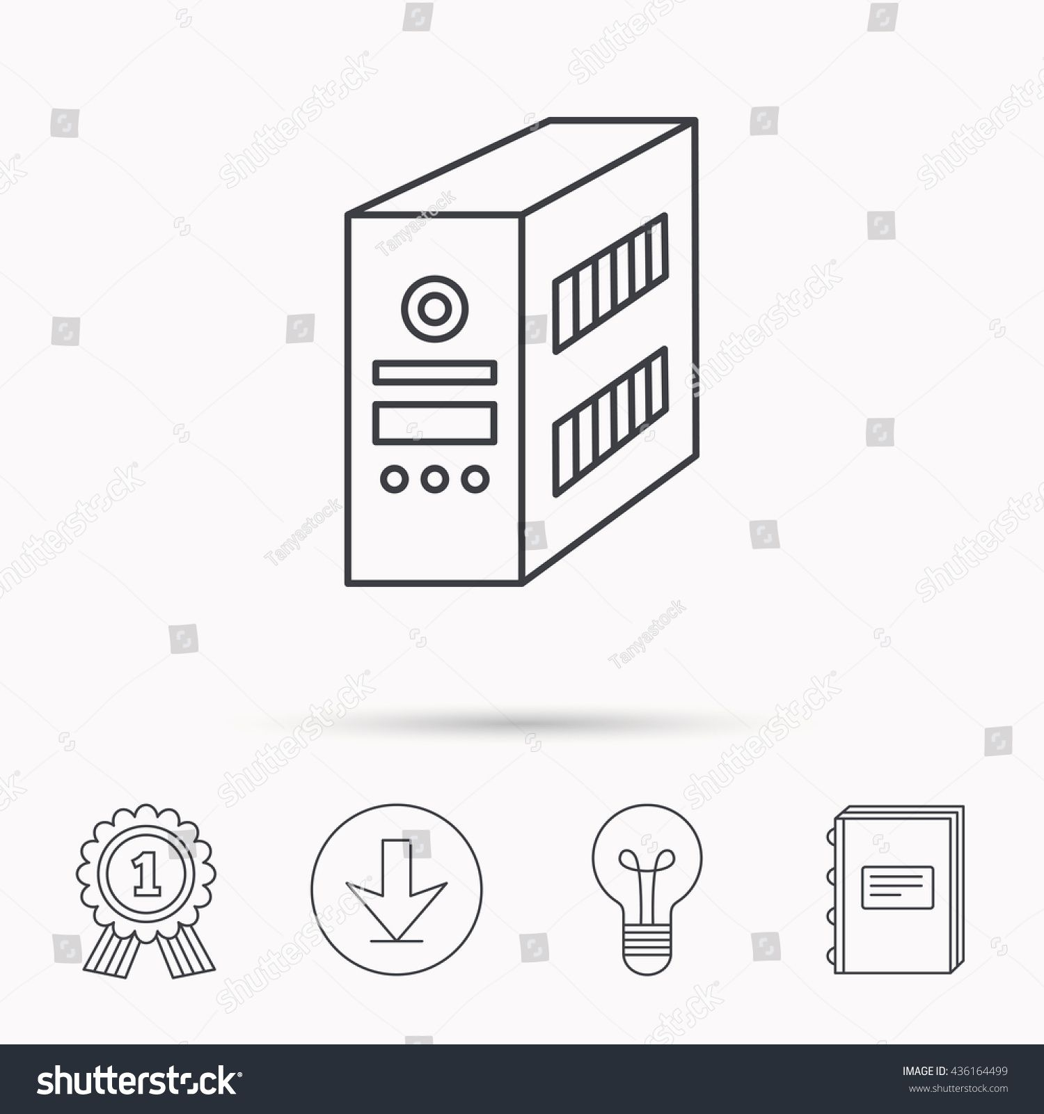 Computer Server Icon Pc Case Or Tower Sign Download Arrow Lamp Learn Book And Award Medal Icons Ad Aff In 2020 Computer Server Pc Cases Modern Resume Template