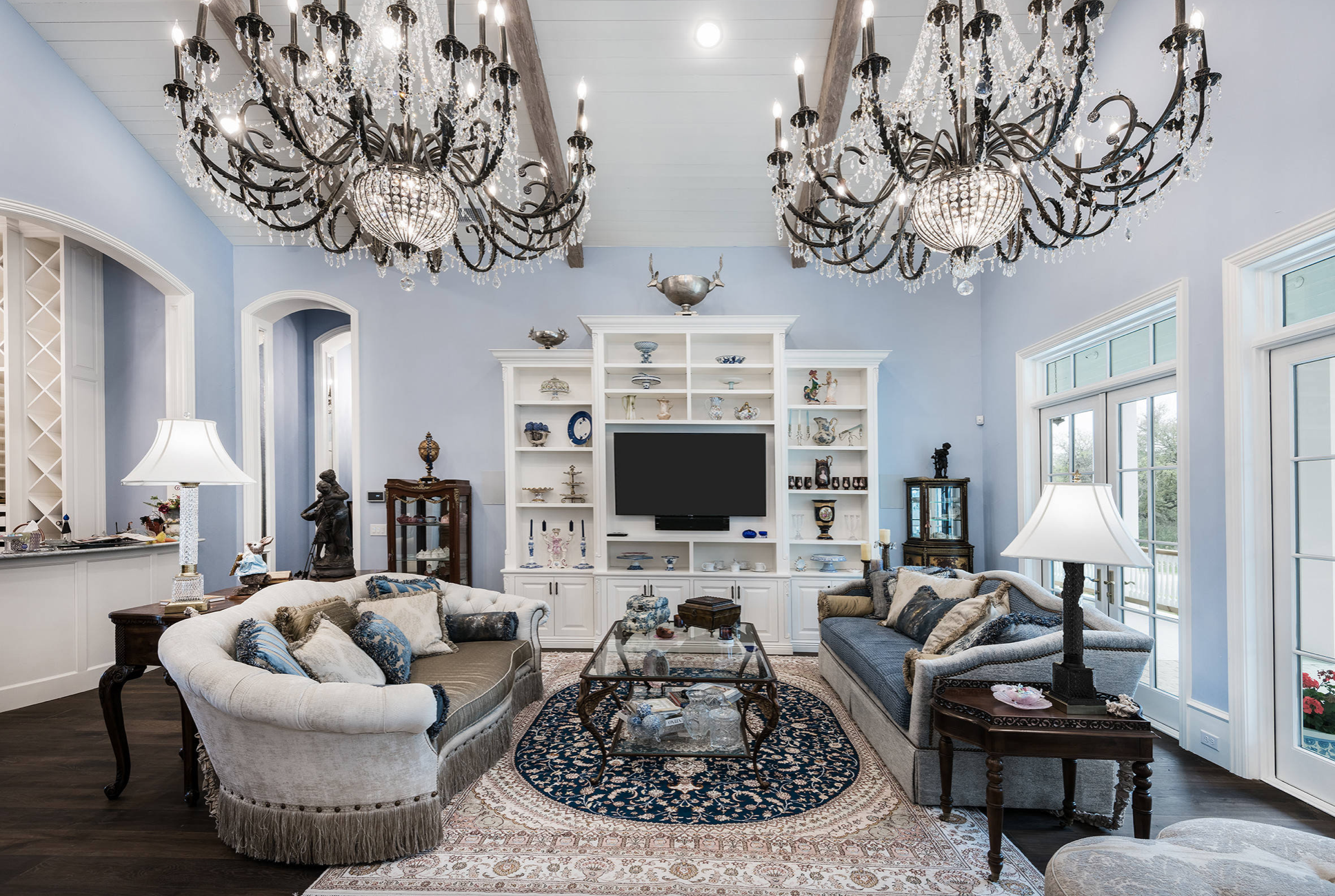 Traditional Style Blue Living Room Decor With Victorian Style Chandelier Blue Living Room Blue Living Room Decor Victorian Home Decor