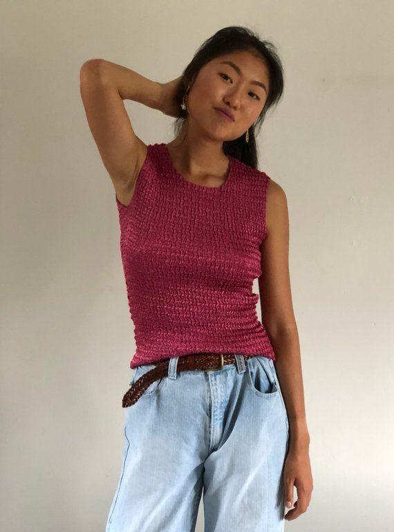 43d11e90dbd36 90s micro pleat raspberry tank   sleeveless mini pleats top   pink satin  plisse cropped tank