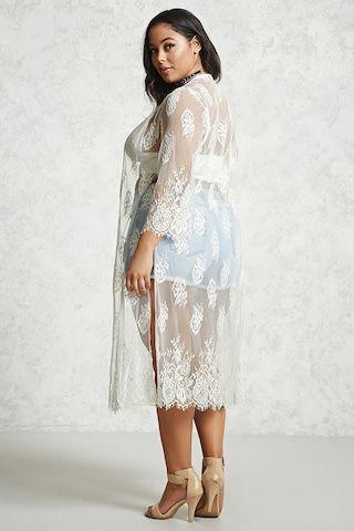 Plus Size Floral Lace Cardigan - Tops - 2000190448 - Forever 21 EU ...